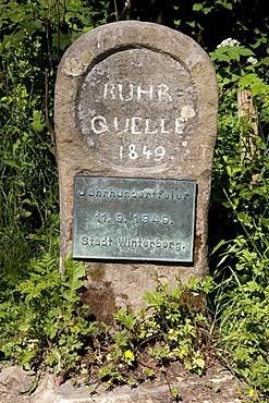 Source of the Ruhr River, Winterberg, Sauerland, North Rhine-Westphalia, Germany, Europe