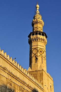 Famous historic minaret of the Umayyad Mosque at Damascus, Unesco World Heritage Site, Syria, Middle East, West Asia