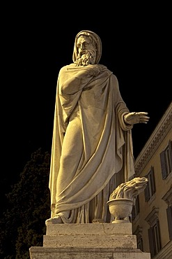 L'Inverno, Winter, by Felice Baini, 1824, one of the four statues of seasons in Piazza del Popolo, Rome, Italy, Europe