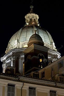 Bell tower and dome of the church San Carlo al Corso, Santi Ambrogio e Carlo al Corso, dome by Pietro da Cortona, 1668 - 69, Rome, Via del Corso, Italy, Europe