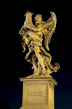 Angelo con la colonna, con il trono, angel with the column, with the throne, by Antonio Raggi, one of the ten statues of angels with symbols of the Passion, Statue di angeli con i simboli della Passione, design by Bernini, Ponte Sant'Angelo, Rome, Latium,