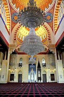 Prayer hall of the Khatem al-Anbiyaa Mosque, Beirut, Lebanon, Middle East, Orient