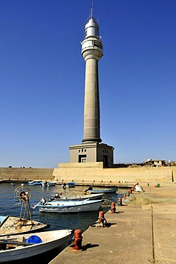 Lighthouse and fishing boats in the fishing harbour of Beirut, Lebanon, Middle East, Asia