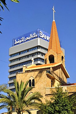 Tower of the St. Elias Maronite Church in front of a skyscraper in downtown Beirut, Lebanon, Middle East, Asia