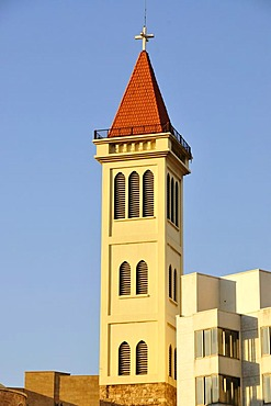 Tower of the St. Louis Capuchin church in the historic centre of Beirut, Lebanon, Middle East, Asia