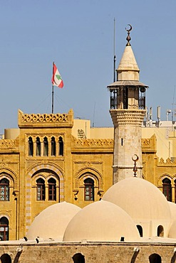 Minaret of the Emir Assaf Mosque in the historic centre of Beirut, Lebanon, Middle East, Asia