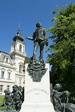 Statue of Gyoergy Festetics and Castle, Keszthely, Hungary, Europe, PublicGround