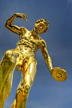 Cymbal player, gilded lead sculpture, Orangerie parterre, Schloss Weilburg Castle, Weilburg an der Lahn, Hesse, Germany, Europe