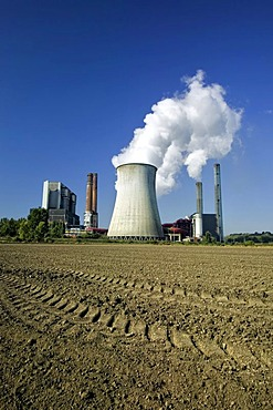 The lignite-fired power plant of the RWE Power AG, Weisweiler, Rhenish lignite mining area, North Rhine-Westphalia, Germany, Europe