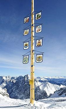 Maypole on Mt. Zugspitze, Wettersteingebirge mountains, Werdenfels, Upper Bavaria, Bavaria, Germany, Europe