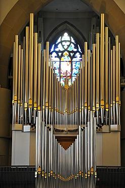 New Muehleisen pipe organ, indoor photo of Stiftskirche church in Stuttgart, landmark and the oldest Protestant church of Stuttgart, Baden-Wuerttemberg, Germany, Europe