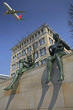 Statues and airplane, Berlin, Germany, Europe