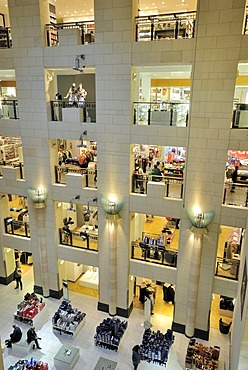 Interior, view over the storeys, KaDeWe or Kaufhaus des Westens department store of the Karstadt Group, Am Wittenbergplatz square, Tauentzienstrasse, Schoeneberg district, Berlin, Germany, Europe
