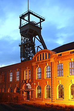 Steigerhaus mine building and shaft tower of the former colliery and coking plant Osterfeld, now Olga-Park amusement park, Oberhausen, Ruhrgebiet area, North Rhine-Westphalia, Germany, Europe
