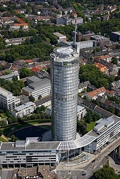 Downtown, RWE Tower administrative building, right, Essen, North Rhine-Westphalia, Germany, Europe