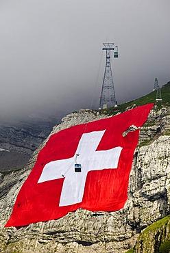 World's biggest Swiss flag, Saentis, Switzerland, Europe