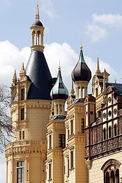 Schloss Schwerin Castle, turrets, decorated with terracotta tiles, Schwerin, Mecklenburg-Western Pomerania, Germany, Europe