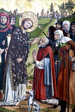 St. Lawrence healing a blind man, detail from the Heiligentaler altar, St. Nicolai church, Lueneburg, Lower Saxony, Germany, Europe