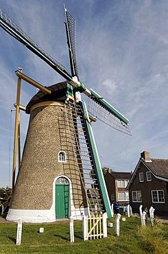Historic windmill, Zoutelande, Walcheren, Zeeland, Netherlands, Benelux, Europe