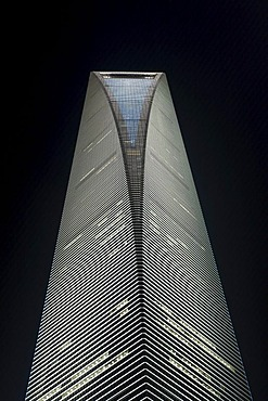 Shanghai World Financial Center at night, Lujiazui financial district, SWFC, Pudong, Shanghai, China, Asia