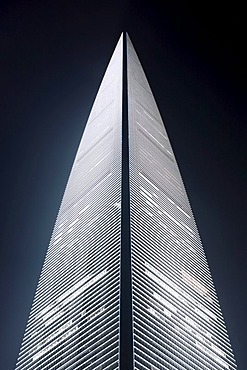 Shanghai World Financial Center at night, SWFC Tower, Lujiazui financial district, Pudong, Shanghai, China, Asia