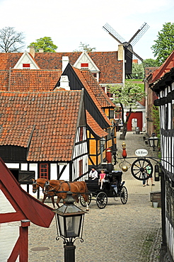 Horse drawn carriage for sightseeing tours, open-air museum the Old Town or Den Gamle By, ≈rhus or Aarhus, Jutland, Denmark, Europe