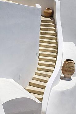 Winding stairway, Firostefani, Santorini, Cyclades, Greece, Europe