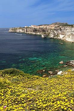 Rocky coastline with a view to Bonifacio, Strait of Bonifacio, Corsica, France, Europe