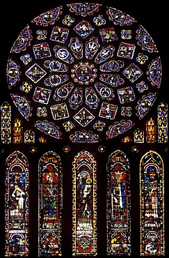 Church window on north porch, Cathedral of Notre-Dame-de-Chartres, Chartres, Eure-et-Loir, Centre, France, Europe