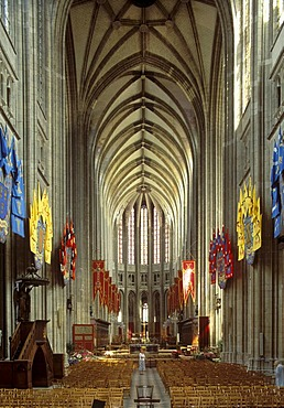 Interior view of the Cathedral of Ste-Croix, Orleans, Loire Valley, Loiret, Centre, France, Europe