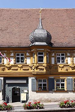 Carvings on the Dillighaus building, Schesslitz, Franconian Switzerland, Franconian Alb, Upper Franconia, Franconia, Bavaria, Germany, Europe