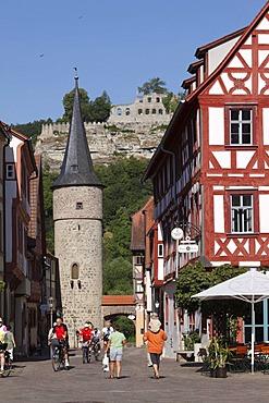 Maintor gate and Karlsburg castle ruin, Karlstadt, Main-Franconia region, Lower Franconia, Franconia, Bavaria, Germany, Europe