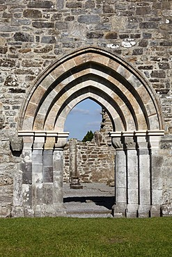 Portal of the cathedral, Clonmacnoise Monastery, County Offaly, Leinster, Republic of Ireland, Europe