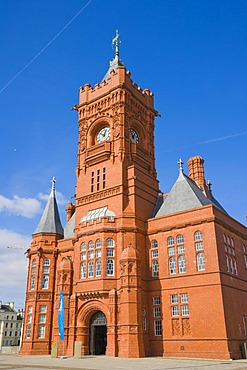 The Pierhead Building, building of the National Assembly for Wales, Welsh history museum, by Welsh architect William Frame, Cardiff Bay, Cardiff, Caerdydd, Wales, United Kingdom, Europe