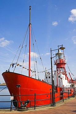 Goleulong 200 The Lightship, floating Christian Centre, Roath Basin, Cardiff Bay, Cardiff, South Glamorgan, Wales, United Kingdom, Europe