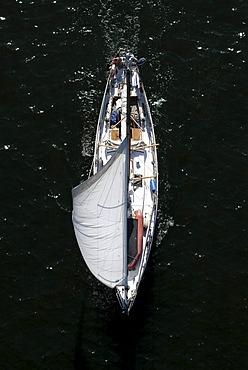 Sailing boat, bird's eye view