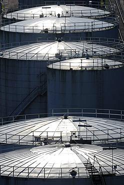 Oil tanks, tank building, back light, Kiel, Schleswig-Holstein, Germany, Europe
