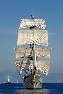 Fully rigged three-masted barque, traditional sailing, windjammer Arthemis with the Friedrichsort lighthouse in the distance, Kiel Week 2010, Kiel Fjord, Schleswig-Holstein, Germany, Europe