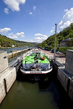 View of a ship in a lock on the Neckar River, Heidelberg, Neckar, Baden-Wuerttemberg Germany, Europe