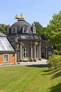 Neues Schloss Castle and orangery, Hermitage near Bayreuth, Upper Franconia, Franconia, Bavaria, Germany, Europe