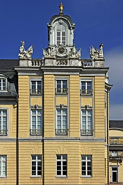 Side wing of Schloss Karlsruhe palace, 1715, with clock tower, Karlsruhe, Baden-Wuerttemberg, Germany, Europe