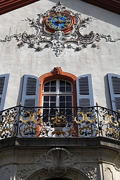 Facade at the entrance, detailed view of Castle Buergeln with clock and balcony, built by Franz Anton Bagnato in 1762, early Classicism style, Schliengen, Baden-Wuerttemberg, Germany, Europe