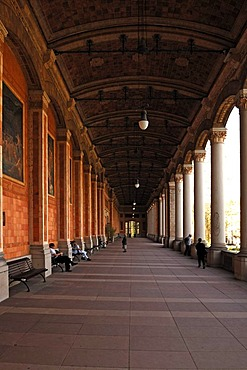 90-meter-long pump room, built 1839-1842, with Corinthian columns and scenes from myths and legends, Kaiserallee 3, Baden-Baden, Baden-Wuerttemberg, Germany, Europe