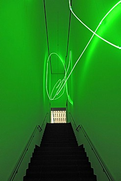 Art, coloured neon installation in the stairwell of Schweinfurt Kunsthalle Art Gallery, Ruefferstrasse, Schweinfurt, Lower Franconia, Bavaria, Germany, Europe