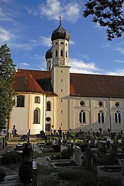 Monastery church of St. Benedikt with cemetary, Benediktbeuren, Upper Bavaria, Bavaria, Germany, Europe