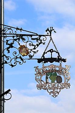 Hanging sign of the wine tavern Vin Kuehn, 3 Grand'Rue, Ammerschwihr, Alsace, France, Europe