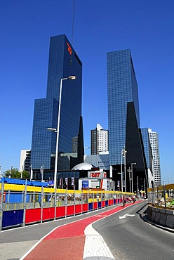 Construction site at the main railway station, Centraal Station, in the back the Delftse Poort office building at the Weena, Rotterdam, Zuid-Holland, South-Holland, Netherlands, Europe