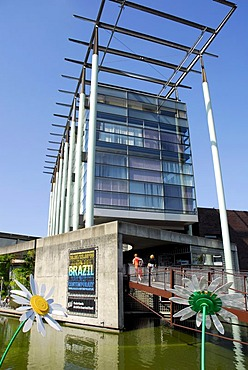 Modern architecture by Jo Coenen, entrance to the Nederlands Architectuur Instituut NAI, Netherlands Architecture Institute, Museumpark, Rotterdam, Zuid-Holland, South-Holland, Netherlands, Europe