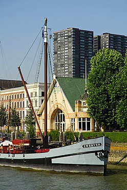 Boat in the Veerhaven, a harbour for traditional, seaworthy sailing ships in the Scheepvaartkwartier quarter, Rotterdam, Zuid-Holland, South-Holland, Netherlands, Europe