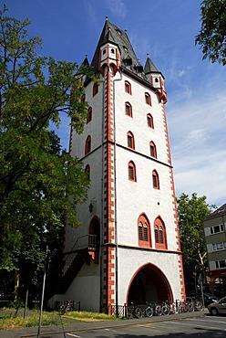 Holzturm tower, part of the mediaeval city wall, old town, Mainz, Rhineland-Palatinate, Germany, Europe